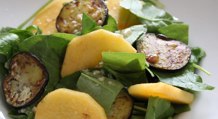 9月レシピ:柿と茄子の塩こうじドレッシングサラダ
